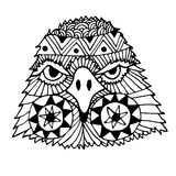 手拉的老鹰头被绘的乱画, zentangle 库存例证