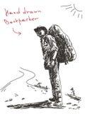手拉的背包徒步旅行者 向量例证