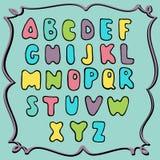 手拉的色的字母表,幼稚设计 库存图片