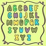 手拉的色的字母表,幼稚设计 图库摄影