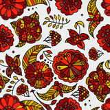 手拉的色的花卉无缝的样式 免版税库存照片