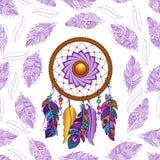 手拉的色的dreamcatcher无缝的样式 免版税库存图片