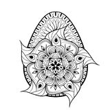手拉的艺术性的复活节彩蛋在zentangle样式传统化了 Patt 免版税库存图片