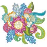 手拉的艺术性的种族装饰物被仿造的花卉框架 免版税库存图片