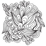 手拉的艺术性的种族装饰物仿造了在乱画样式的花卉框架,成人着色页,纹身花刺 免版税库存图片
