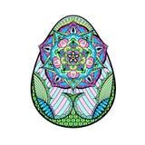 手拉的艺术性的颜色复活节彩蛋在zentangle样式传统化了 免版税库存图片