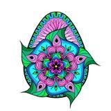 手拉的艺术性的颜色复活节彩蛋在zentangle样式传统化了 库存图片