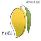手拉的芒果象 导航在白色背景隔绝的越南果子的例证 库存照片