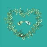 手拉的花卉春天框架 免版税图库摄影