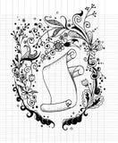 手拉的花卉背景和卷老纸 图库摄影