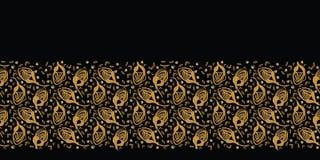 手拉的花卉被扔的边界样式 r 风格化墨水花词根例证 时髦减速火箭的古金色 皇族释放例证