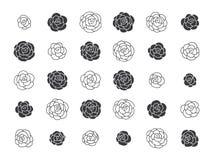 手拉的花卉装饰设计元素 库存照片