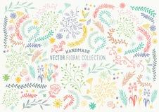 手拉的花卉集合 免版税库存照片