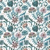 手拉的花无缝的样式 与幻想花和叶子的五颜六色的无缝的样式 乱画样式 完善为 皇族释放例证