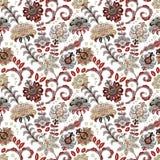 手拉的花无缝的样式 与幻想花和叶子的五颜六色的无缝的样式 乱画样式 完善为 库存例证