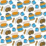 手拉的花生酱无缝的样式 导航与早餐、茶、坚果、stroopwafel和薄煎饼的背景 对包裹和 免版税图库摄影