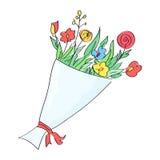 手拉的花花束 库存图片