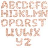 手拉的英语字母表 免版税库存照片