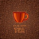 手拉的茶和咖啡背景 库存例证