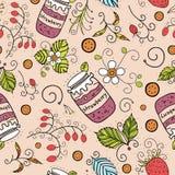 手拉的草莓无缝的样式 速写的食物和花卉背景 五颜六色的莓果例证 免版税库存图片