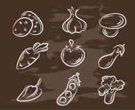 手拉的菜的汇集 减速火箭的葡萄酒样式食物设计 也corel凹道例证向量 免版税库存照片