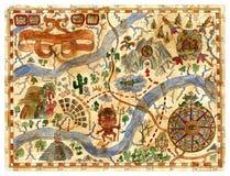 手拉的葡萄酒冒险与海盗珍宝的地图 库存例证