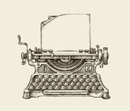 手拉的葡萄酒打字机 剪影出版 也corel凹道例证向量 图库摄影
