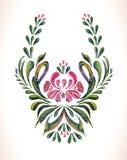 手拉的葡萄酒花饰 免版税库存图片