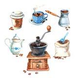 手拉的葡萄酒水彩咖啡具 库存图片