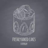 手拉的蛋糕用被隔绝的薄菏 白垩样式点心的传染媒介llustration 黑板食物背景 免版税图库摄影