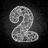 手拉的被乱画的孩子数字 逗人喜爱的monstred数字,算术标志 皇族释放例证