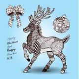 手拉的被设置的圣诞节驯鹿和装饰 免版税库存照片