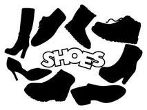 手拉的被隔绝的黑等高穿上鞋子传染媒介 图库摄影