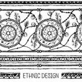 手拉的被绘的无缝的样式 黑白颜色 套墨水种族条纹和梦想俘获器 库存图片