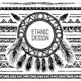 手拉的被绘的无缝的样式 黑白颜色 套墨水种族条纹和梦想俘获器 免版税库存照片
