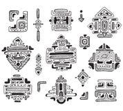 手拉的装饰品玛雅人传染媒介集合 免版税库存照片