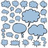 手拉的讲话泡影和想法云彩设计元素 库存图片