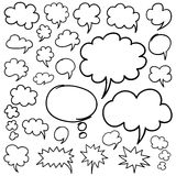手拉的讲话泡影和想法云彩设计元素 免版税图库摄影
