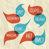 手拉的讲话泡影设置了与在纸纹理2的短的词组 库存照片