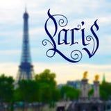 巴黎手拉的设计 免版税库存照片