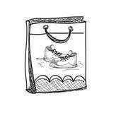 手拉的运动鞋。传染媒介例证。 免版税库存照片