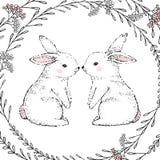 手拉的逗人喜爱的兔子和花卉框架 向量 免版税库存图片