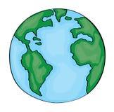 手拉的逗人喜爱的动画片地球美国 免版税库存照片