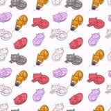 手拉的逗人喜爱的猫无缝的样式,五颜六色的传染媒介例证 库存照片