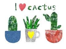 手拉的逗人喜爱的花盆和大农场主的仙人掌室内房子植物,被隔绝 拼贴画纸裁减样式 r 库存例证