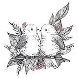 手拉的逗人喜爱的鸟、花和叶子 向量 免版税图库摄影