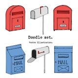 手拉的邮箱动画片集合 也corel凹道例证向量 乱画岗位,邮寄装饰元素 在剪影样式的邮件象 葡萄酒mai 向量例证