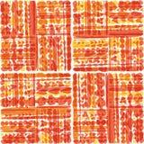 手拉的部族在温暖的黄色和橙色口气的补缀品无缝的传染媒介样式 透明躺在的作用 皇族释放例证