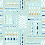 手拉的部族标记,在薄荷的背景的针导航无缝的样式 新鲜的抽象几何图画 向量例证