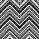 手拉的部族样式 之字形和条纹线 库存例证